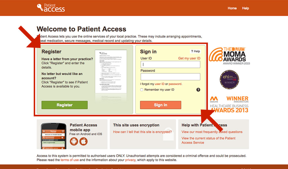 Patient Access login page