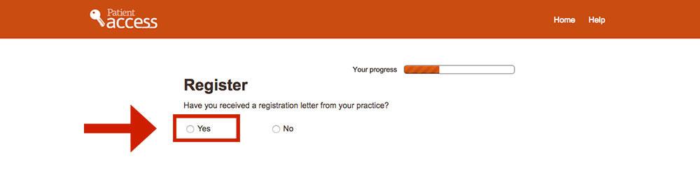 patient access register page